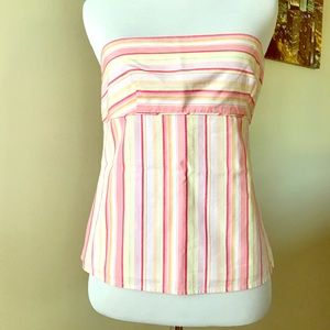 NWOT J. CREW Pink/ Yellow Striped Tube Top. Size 0